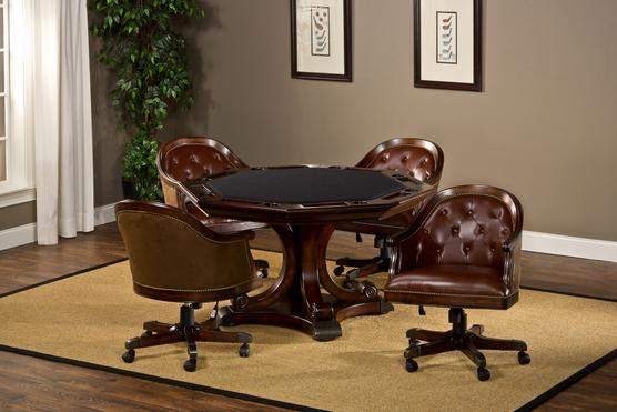 Harding game table with leather chairs