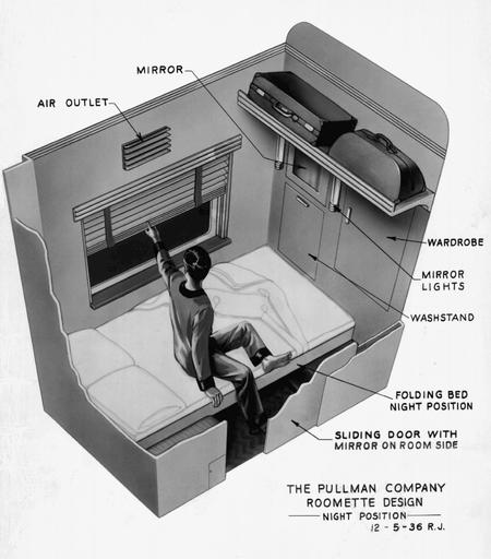 An illustration of the Pullman Company's single occupancy sleeping compartment, the Roomette, in night mode, 1936.