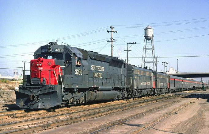 An EMD SDP45 and two FP7s lead the Cascade into Berkeley, California, in April 1971.
