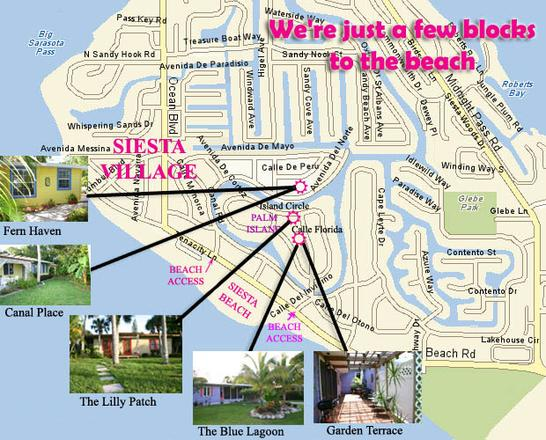 Map of Siesta Key, Beach, and Village. Marked spots of vacation rentals.
