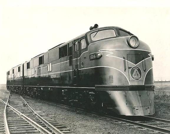 The Alton Railroad's brand-new EMD E7 locomotives, circa 1945.