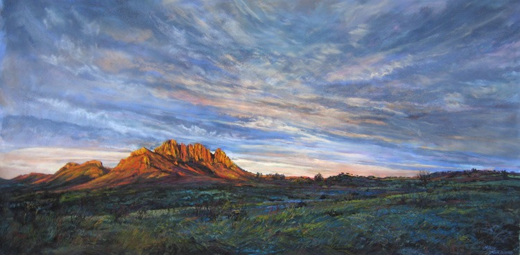 Golden Ribboned Dawn Wraps Sawtooth Mountain, large pastel landscape painting by Lindy Cook Severns, Texas artist