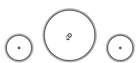 A schematic drawing of the 2-2-2 steam locomotive wheel arrangement.