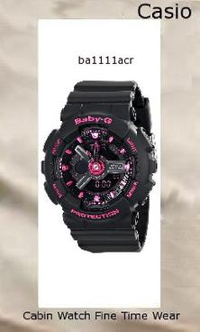 Watch Information Brand, Seller, or Collection Name Casio Model number BA-111-1ACR Part Number BA-111-1ACR Model Year 2011 Item Shape Round Dial window material type Mineral Display Type Analog-Digital Clasp Buckle Metal stamp none Case material Resin Case diameter 46.3 millimeters Case Thickness 15.8 millimeters Band Material Resin Band length Womens-Standard Band width 43.4 millimeters Band Color Black Dial color Black Bezel material Resin Bezel function 24 hour time display Calendar Day, date, and month Special features Stop watch, Shock resistant, Timer, World Time Movement Quartz Water resistant depth 330 Feet