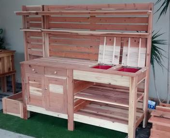 Construction grade redwood, 6' potting bench, Double door, double drawers, soil tray