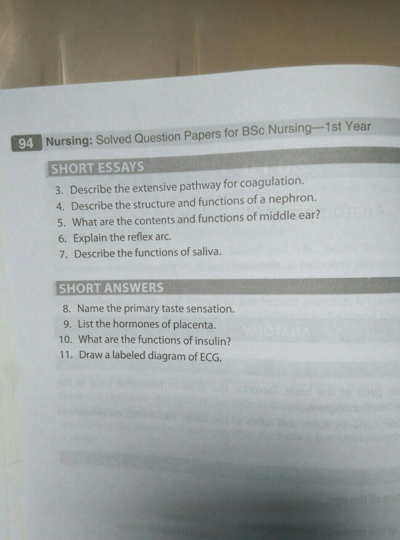 Question Bank Anatomy and Physiology, First Year, RGUHS