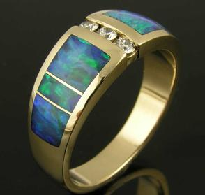 Australian opal ring with diamonds by Hileman