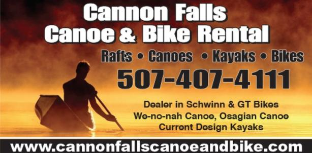 Cannon falls canoe kayak raft bike rental in cannon falls mn.  Near Twin Cites Minneapolis st. paul rochester welch MN