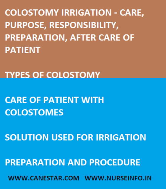 colostomy irrigation, care, purpose, purpose, procedure