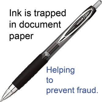 Black retractable uni-ball pen helps prevent cheque and document fraud.