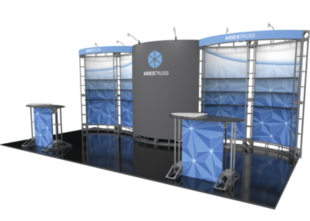 Aries 10x20 Orbital Truss trade show exhibit booth right side.