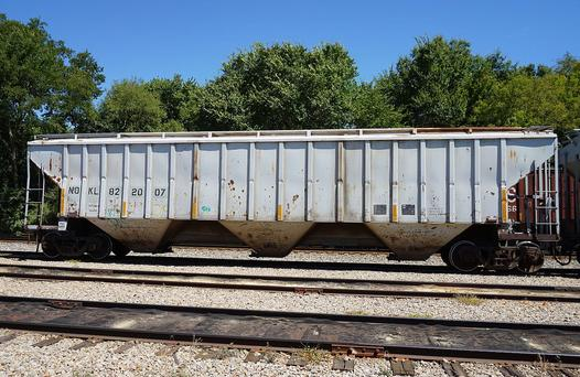 A hopper car at the Pilgrim's Pride feed mill in Pittsburg, Texas.