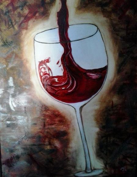The Pour oil on canvas by Cindy kennedy