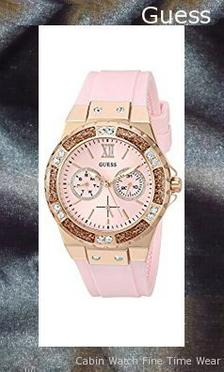 GUESS Women's Stainless Steel Crystal Silicone Watch, Color: Pink (Model: U1053L3),guess outlet