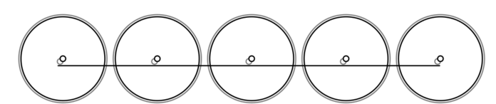 Diagram of the 0-10-0 Wheel Arrangement: five large driving wheels joined together by a coupling rod.