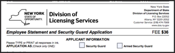New York State Security Guard License Application Form