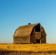 Landscape Image of a barn in a field