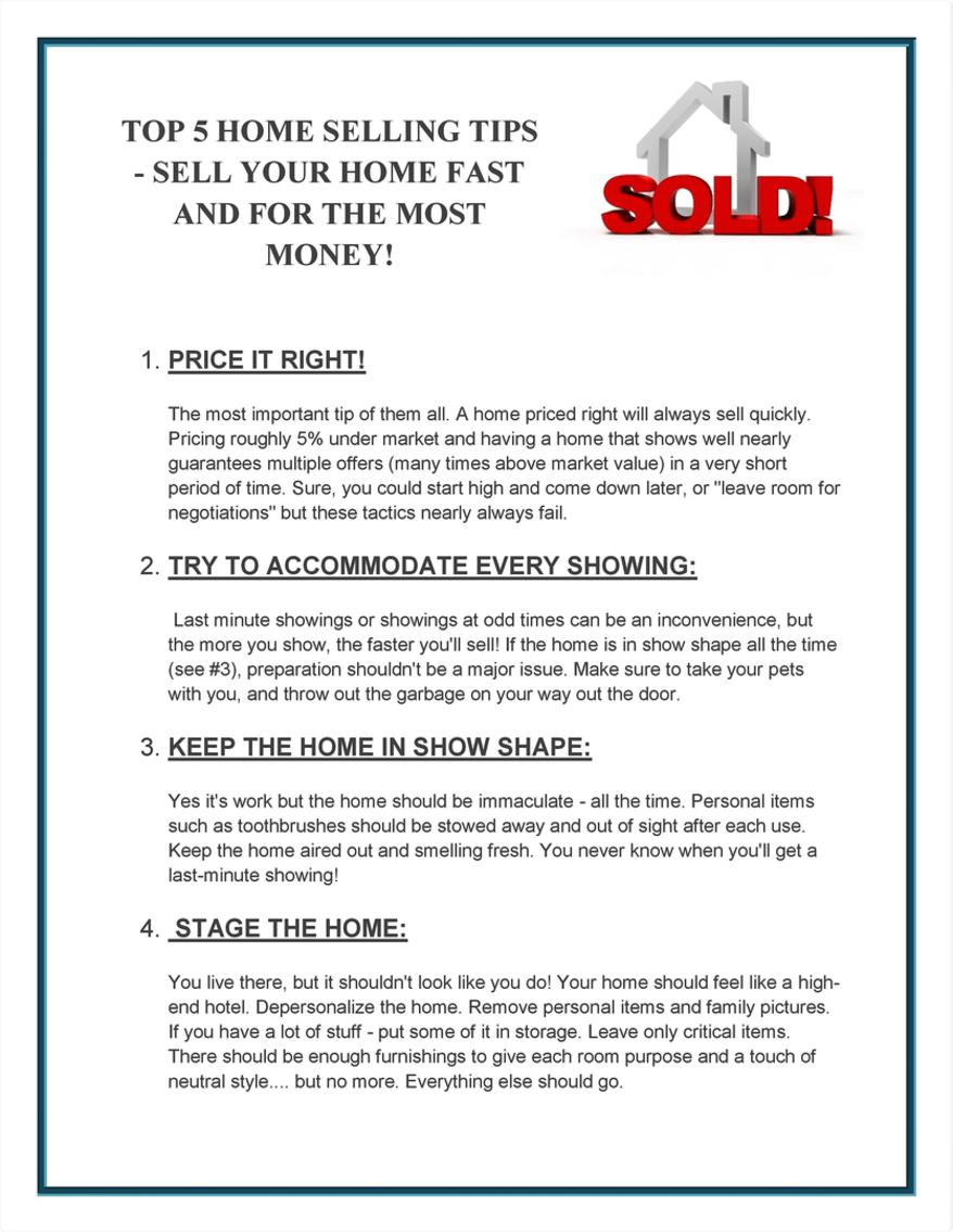 Top 5 Home Selling Tips Home Selling Tips on home security tips, home inspection tips, home business tips, home design tips, home packing tips,