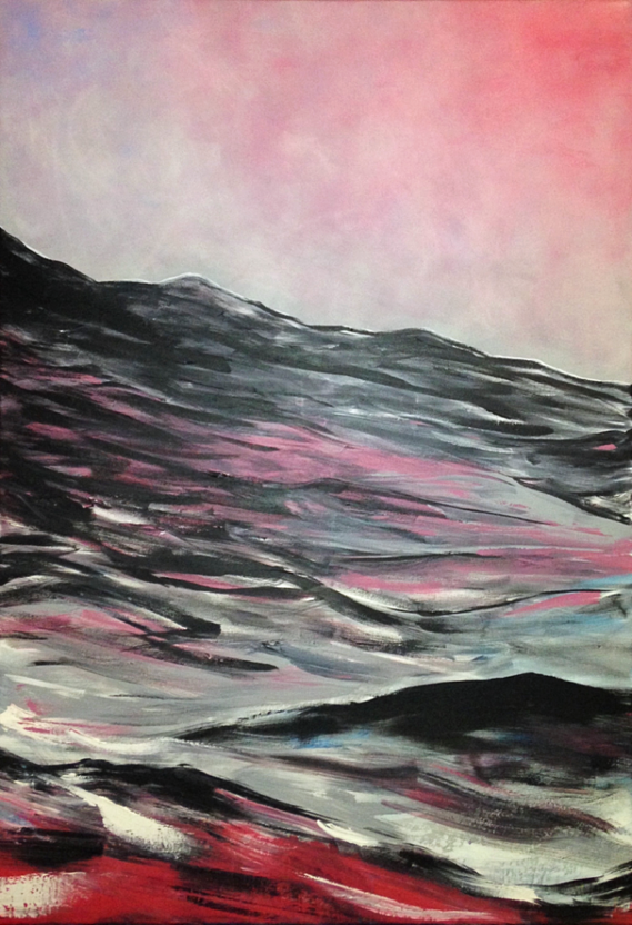The Mountainous Sea. 100x70cm. Acrylic on canvas, varnished. Original contemporary red, white and black seascape by Irish artist Orfhlaith Egan. Currently on view at Caffetteria Buchhandlung, Tucholskystraße 32, 10117 Berlin-Mitte.