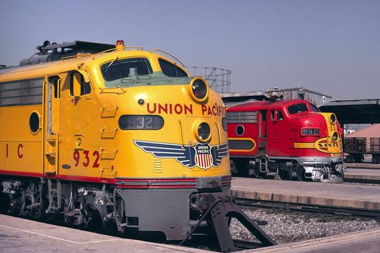 The Union Pacific's City of Los Angeles and the ATSF's San Diegan at Union Station in Los Angeles in March, 1971.