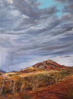 A Welcome Drenching, pastel landscape, the Davis Mts by Texas artist Lindy C Severns