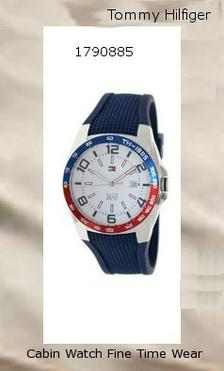 Product specifications Watch Information Brand, Seller, or Collection Name Tommy Hilfiger Model number 1790885 Part Number 1790885 Model Year 2014 Item Shape Round Dial window material type Mineral Display Type Analog Clasp Buckle Case material Stainless Steel Case diameter 44 millimeters Case Thickness 11.4 millimeters Band Material Silicone Band length Mens-Standard Band width 21 millimeters Band Color Blue Dial color White Bezel material Stainless Steel Bezel function Stationary Calendar Date Special features Date Window Item weight 16 Ounces Movement Japan Movement Water resistant depth 165 Feet