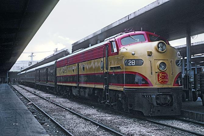 The Kansas City Southern Railway's Flying Crow at New Orleans Union Terminal on November 22, 1967.