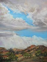 "Waiting For Rain 12"" x 9"" pastel by Lindy Cook Severns, a Davis Mts skyscape. Old Spanish Trail Studio, Fort Davis, TX"