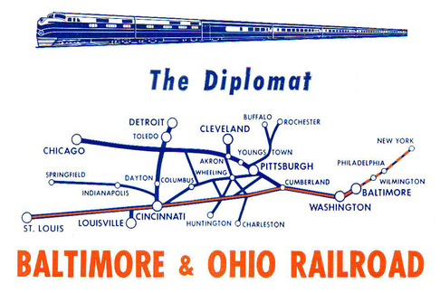 Route map of the Baltimore and Ohio's Diplomat.