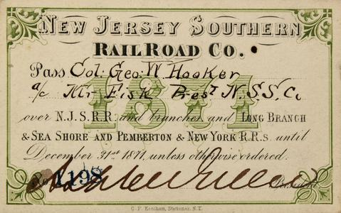 This New Jersey Southern pass was issued to Col. George W. Hooker, a decorated veteran of the Civil War.