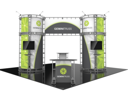 Gemini Orbital Express 20x20 modular trade show exhibit booth front view.