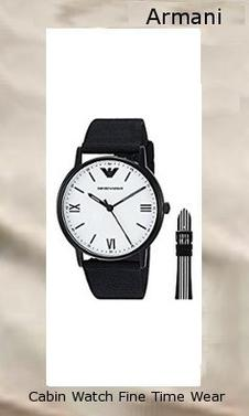 Emporio Armani Men's Quartz Stainless Steel and Nylon Dress Watch, Color:Black (Model: AR80004),armani