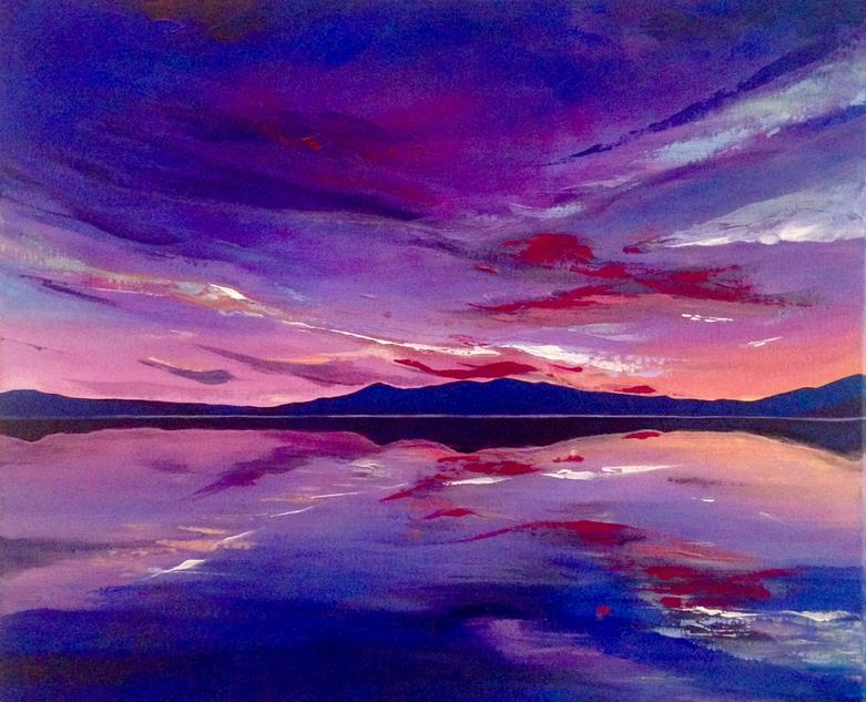 Imperial Sky. Original Acrylic Landscape Painting by Irish artist Orfhlaith Egan. Paintings inspired by the west of Ireland and the wider world. Currently on view at Freyer Marktforschung, Berlin.
