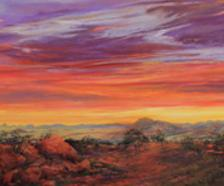 Daybreak Across the Top of Texas pastel by Lindy C Severns