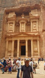 Craig Lawrence in front of the treasury building in Petra, Jordan