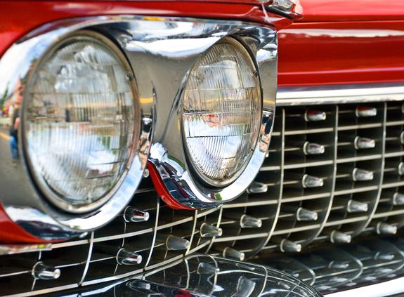Classic Car with Chromed Egg Crate Grille Close Up