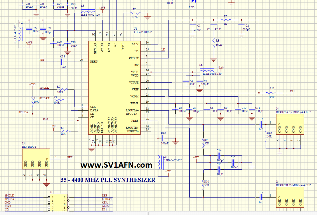 Adf4351 Module Circuit Diaghram Of Low Frequency Synthesizer Schematic In Pdf Datasheet