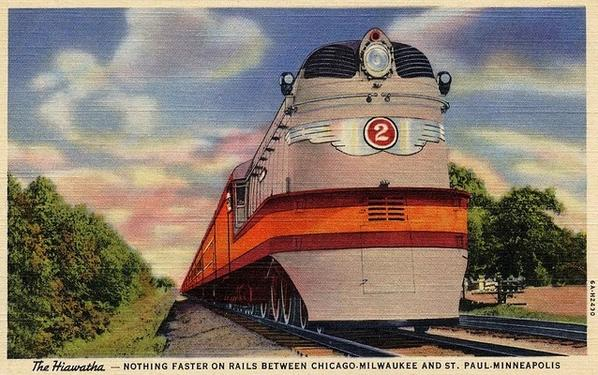 Postcard depiction of the Milwaukee Road Hiawatha circa 1935.