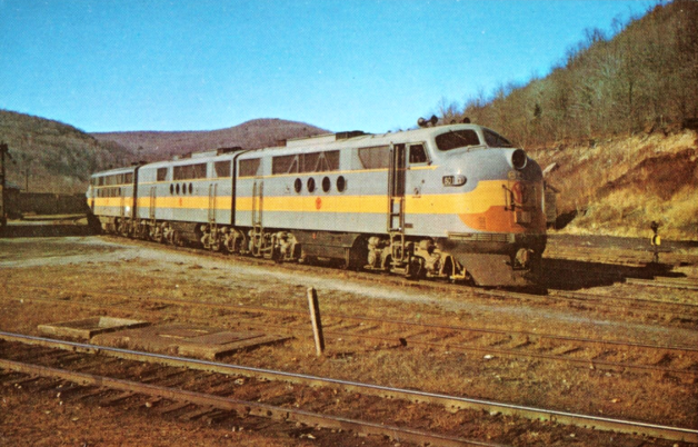 A trio of the NYO&W's EMD diesel locomotives, led by No. 601.