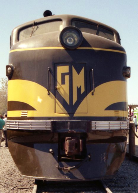 The nose of GM 103, the first EMD FT, on display at Railfair '91 at the California State Railroad Museum in Sacramento, California, May 10, 1991. Photo by Sean Lamb.