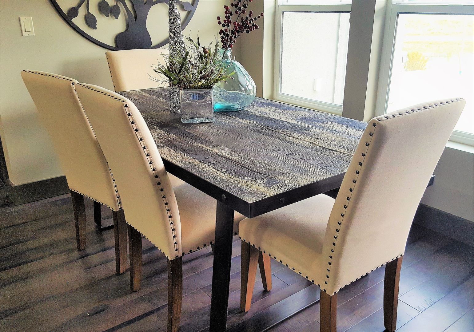 Mystic Fog Dinner Table With CEMENT Top Rustic Elegance Family Photo
