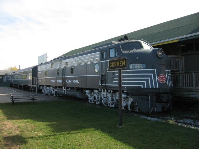NYC EMD E8 No. 4085 at the National New York Central Railroad Museum, Elkhart, IN. New York Central System. The sign is from Goshen, IN. 24 October 2007.