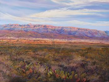 Infinitely Texas, pastel landscape by Big Bend Artist Lindy Cook Severns, Sierra del Carmen, BBNP