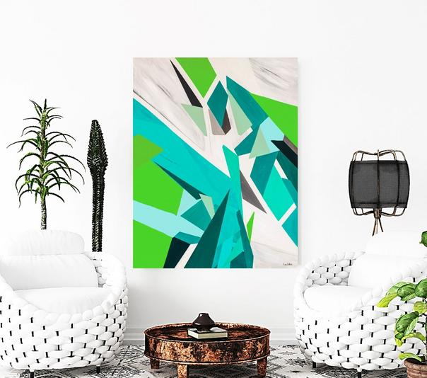 Modern Art, modern motif, dubois art, lori dubois art, abstract art, multi color art called Breakthrough, Green Blue, blue art