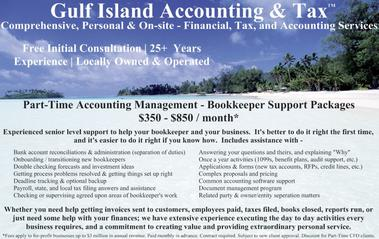 Postcard Image: Sanibel Florida - Bookkeeper Support, Accounting Management, Bank Account Reconciliations, Training New Bookkeepers, Double Checking Forecasts & Investment Ideas, Deadline Tracking & Backup, Payroll and state and local tax filing answers and assistance, bookkeeper supervision, once a year activities, 1099s, benefit plans, audit support, applications and forms, complex proposals and pricing, common accounting software and support, document management program, related party and owner-entity seperation matters