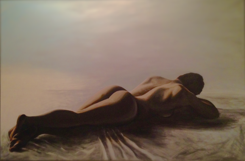 Nude. Private Collection. Original Figurative Acrylic Painting by Irish artist Orfhlaith Egan. Berlin Gallery & Studio.
