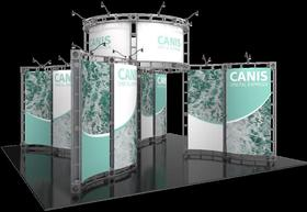 Canis Orbital Express Truss 20 x 20 Exhibit booth rendering view.