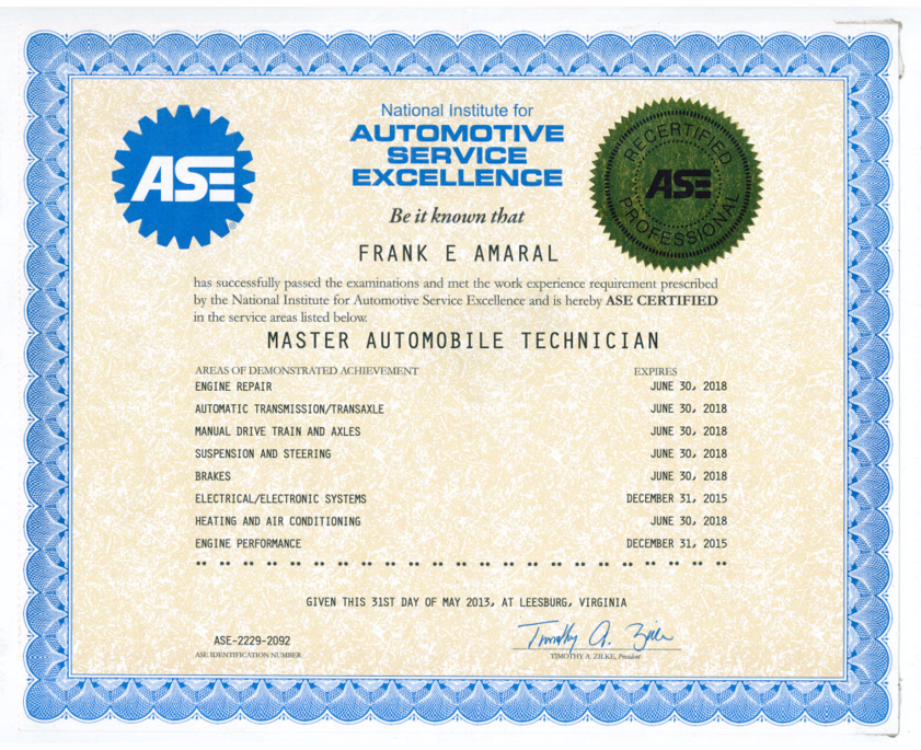 Ase Certification Apex Automotive Phoenix Arizona