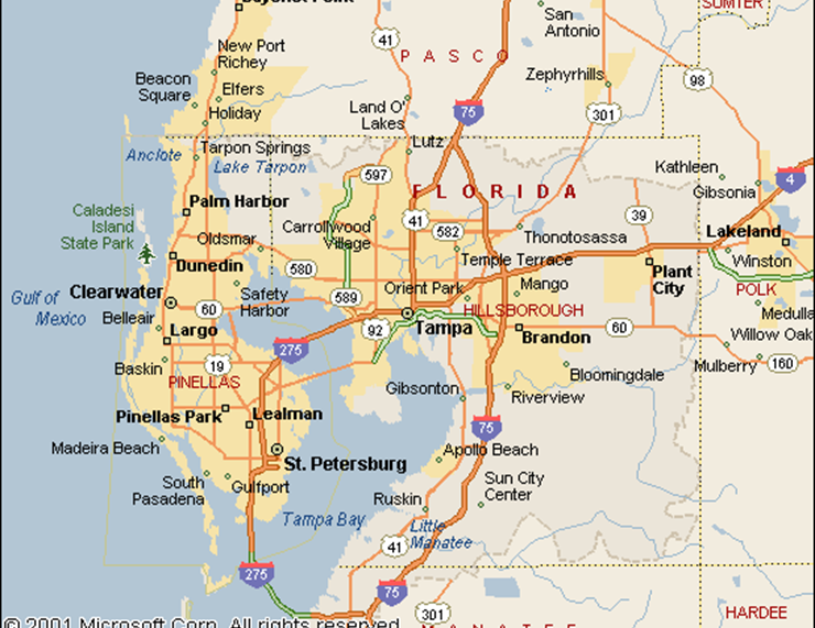 Tampa Area Map Area Map of Tampa Florida & Global Maps to Assist International Buyers