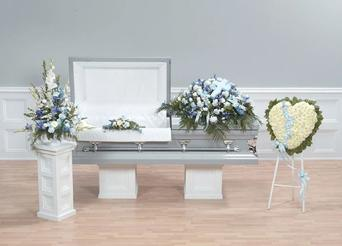 NB-AFD-CTT52 Coordinated Floral display as pictured. (4 pieces) Pedestal, Lid, Casket, Broken Heart Standing $485.00